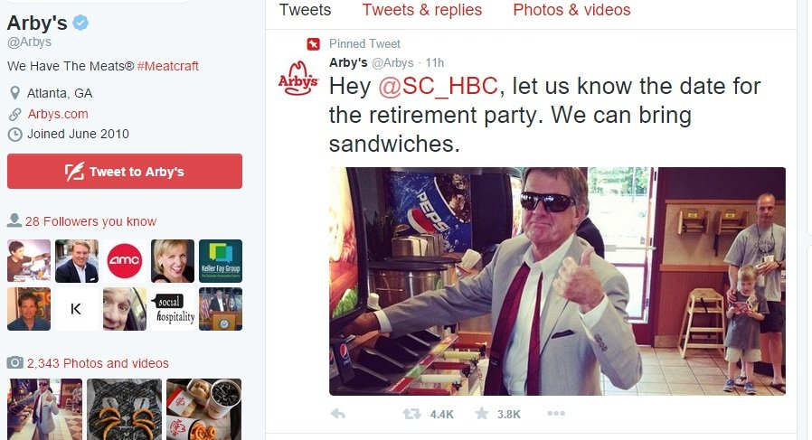 It's clear the Arby's Twitter Team was listening to its customers' social media conversations.