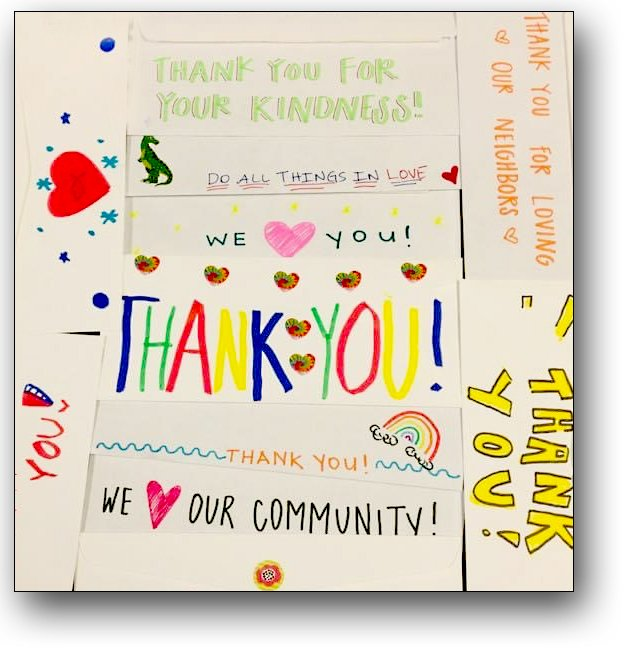 Kids volunteered to decorate Thank You envelopes to MHC donors.