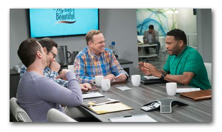The ad team depicted on ABC's black-ish discuss The Talk.