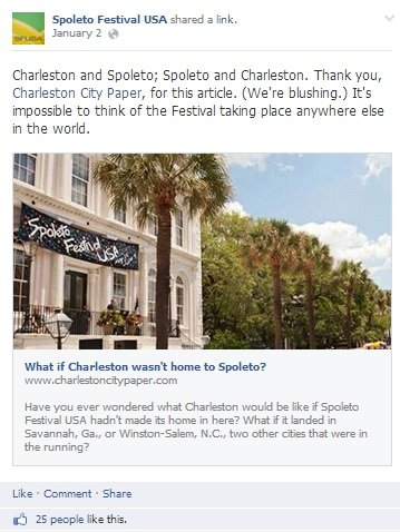 Spoleto Festival USA's Facebook Post